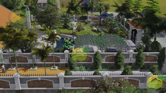 Mẫu thiết kế sân vườn nhà thờ họ 0