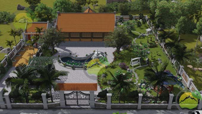 Mẫu thiết kế sân vườn nhà thờ họ 1