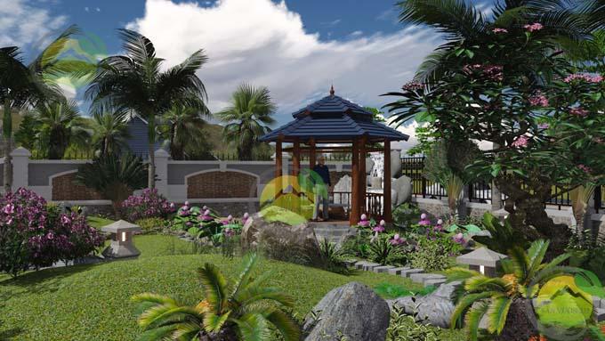 Mẫu thiết kế sân vườn nhà thờ họ 2