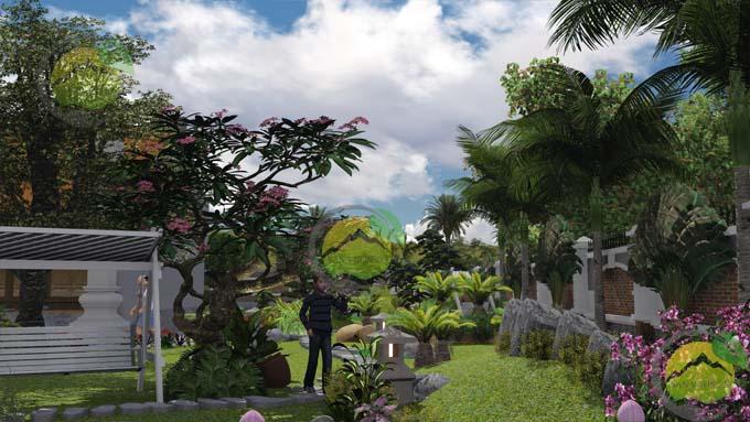Mẫu thiết kế sân vườn nhà thờ họ 3