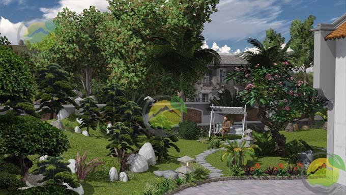 Mẫu thiết kế sân vườn nhà thờ họ 5