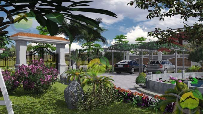Mẫu thiết kế sân vườn nhà thờ họ 9