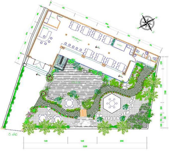 Mẫu thiết kế sân vườn quán ca phê đẹp tại Điện Biên 000