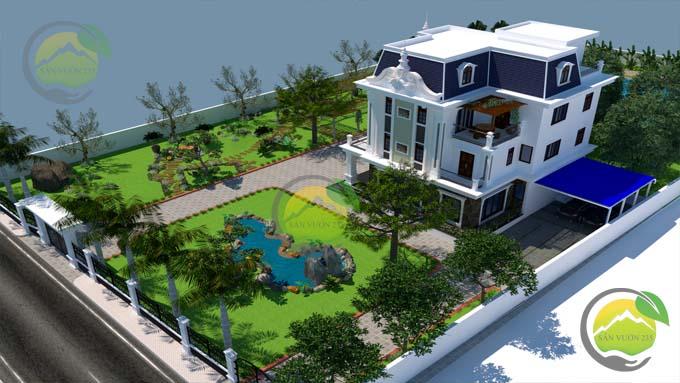 Mẫu thiết kế tiểu cảnh sân vườn cho biệt thự tân cổ điển 2