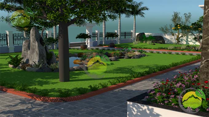 Mẫu thiết kế tiểu cảnh sân vườn cho biệt thự tân cổ điển 3