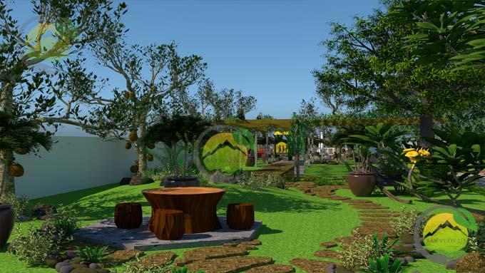 Mẫu thiết kế tiểu cảnh sân vườn cho biệt thự tân cổ điển 4