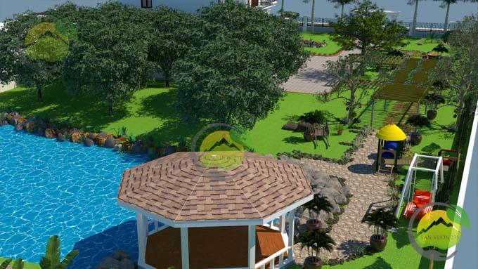 Mẫu thiết kế tiểu cảnh sân vườn cho biệt thự tân cổ điển 5