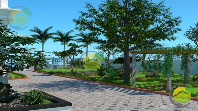 Mẫu thiết kế tiểu cảnh sân vườn cho biệt thự tân cổ điển 6