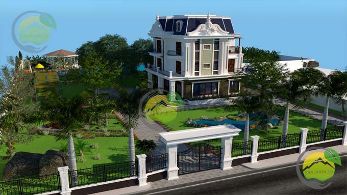 Mẫu thiết kế tiểu cảnh sân vườn cho biệt thự tân cổ điển 7