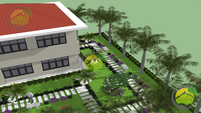 Mẫu thiết kế tiểu cảnh sân vườn trước nhà 4
