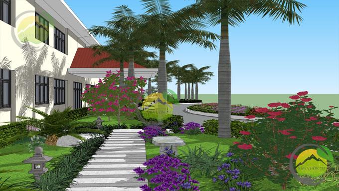 Mẫu thiết kế tiểu cảnh sân vườn trước nhà 5