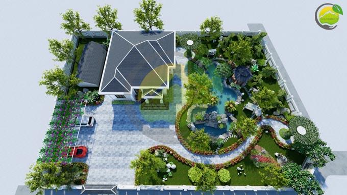 Mẫu thiết kế nhà vườn 1 tầng dưới 1000m2 1