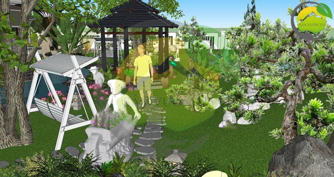 Mẫu thiết kế nhà vườn 1 tầng dưới 1000m2 10