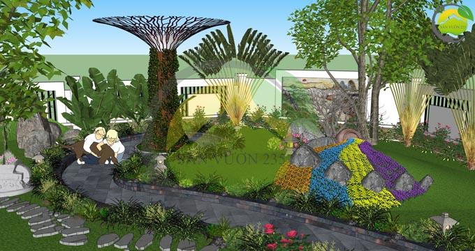 Mẫu thiết kế nhà vườn 1 tầng dưới 1000m2 8