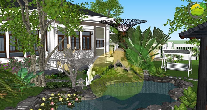 Mẫu thiết kế nhà vườn 1 tầng dưới 1000m2 6