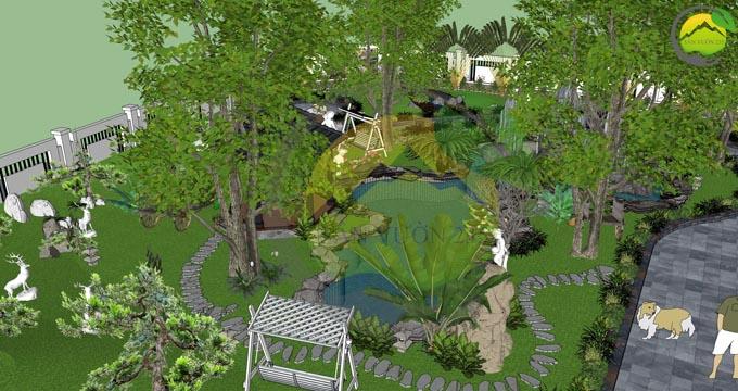 Mẫu thiết kế nhà vườn 1 tầng dưới 1000m2 5