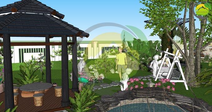 Mẫu thiết kế nhà vườn 1 tầng dưới 1000m2 4