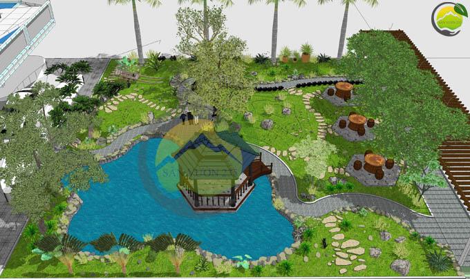Thiết kế sân vườn đẹp trước nhà 0