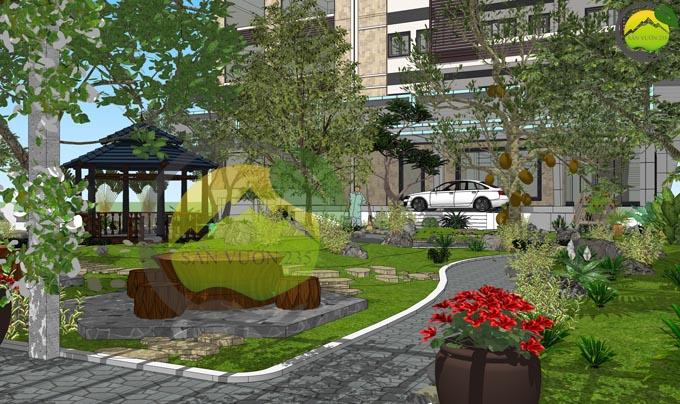 Thiết kế sân vườn đẹp trước nhà 8