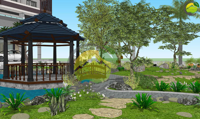 Thiết kế sân vườn đẹp trước nhà 7