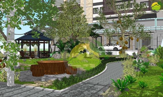 Thiết kế sân vườn đẹp trước nhà 5