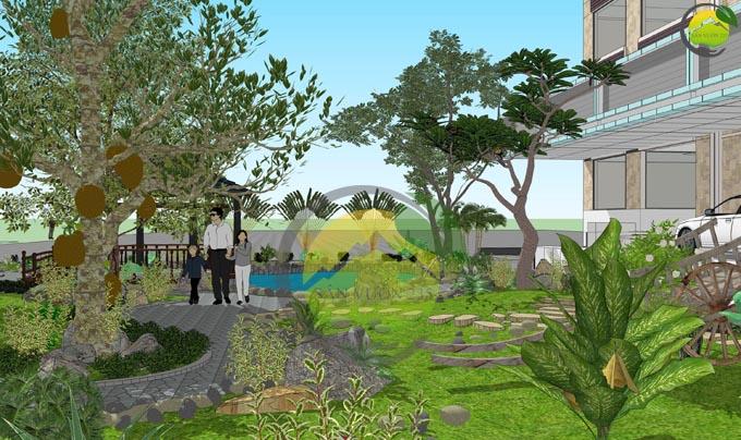 Thiết kế sân vườn đẹp trước nhà 4