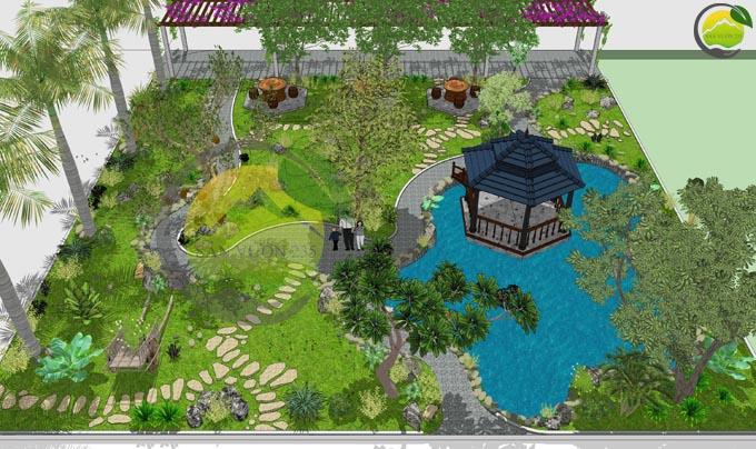 Thiết kế sân vườn đẹp trước nhà 1