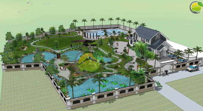 Thiết kế sân vườn biệt thự mái thái tại Sóc Sơn 1