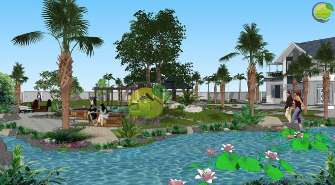 Thiết kế sân vườn biệt thự mái thái tại Sóc Sơn 2