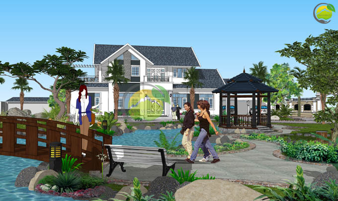 Thiết kế sân vườn biệt thự mái thái tại Sóc Sơn 3