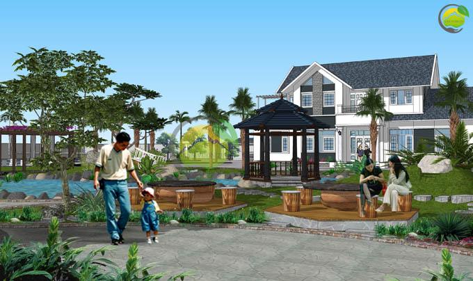 Thiết kế sân vườn biệt thự mái thái tại Sóc Sơn 4