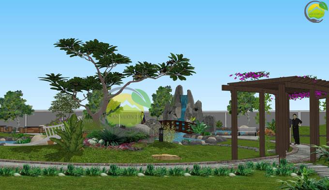 Thiết kế sân vườn biệt thự mái thái tại Sóc Sơn 5