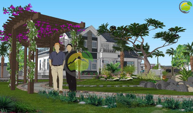 Thiết kế sân vườn biệt thự mái thái tại Sóc Sơn 6