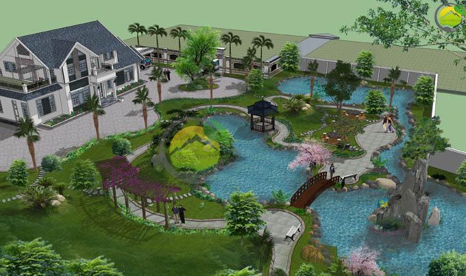Thiết kế sân vườn biệt thự mái thái tại Sóc Sơn 7