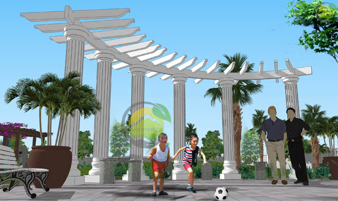 Thiết kế sân vườn biệt thự mái thái tại Sóc Sơn 8