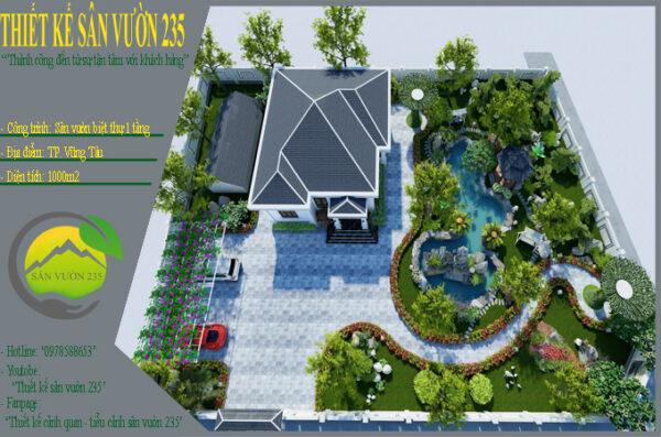 Mẫu thiết kế nhà vườn 1 tầng dưới 1000m2