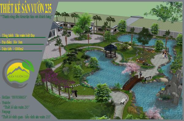 Thiết kế sân vườn biệt thự mái thái tại Sóc Sơn 0