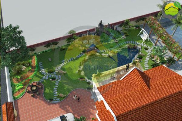 Thiết kế sân vườn biệt thự 2,5 tầng mái thái