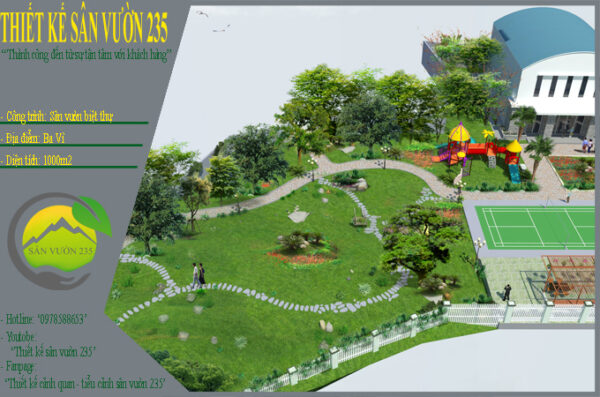 Thiết kế sân vườn 1000m2 tại Ba Vì