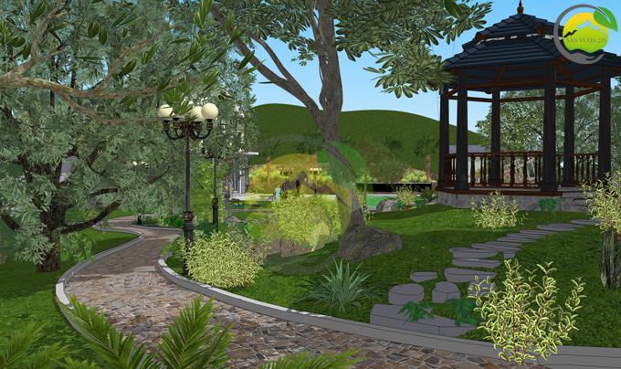 Thiết kế sân vườn 1000m2 tại Ba Vì 6