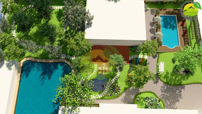 Thiết kế sân vườn tiểu cảnh tại Quốc Oai Hà Nội 1