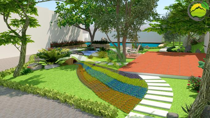 Thiết kế sân vườn tiểu cảnh tại Quốc Oai Hà Nội 2