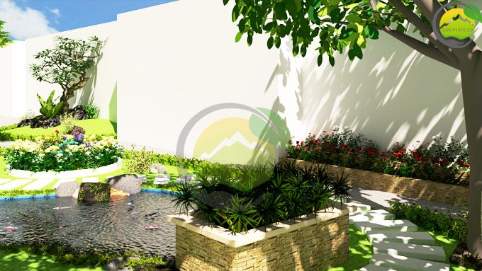 Thiết kế sân vườn tiểu cảnh tại Quốc Oai Hà Nội 3