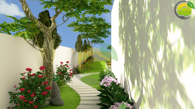 Thiết kế sân vườn tiểu cảnh tại Quốc Oai Hà Nội 4