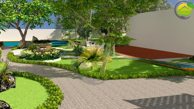 Thiết kế sân vườn tiểu cảnh tại Quốc Oai Hà Nội 5