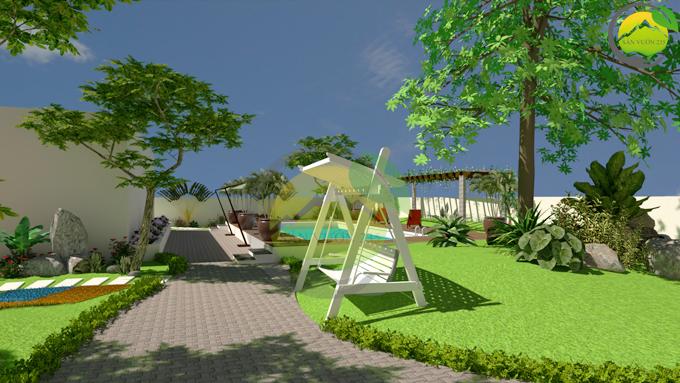 Thiết kế sân vườn tiểu cảnh tại Quốc Oai Hà Nội 6