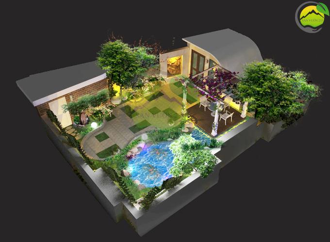 Thiết kế tiểu cảnh vườn sân thượng 1