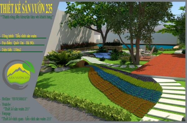 Thiết kế sân vườn tiểu cảnh tại Quốc Oai Hà Nội