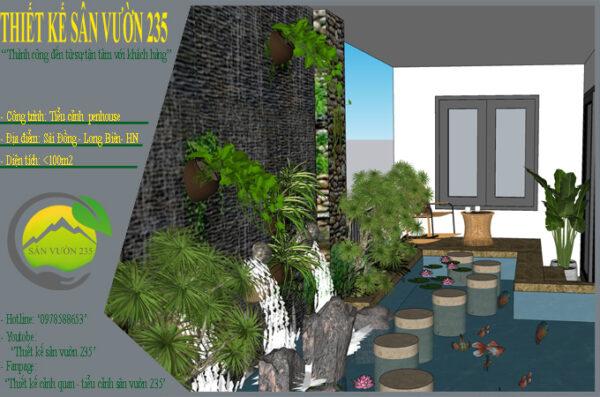 mẫu thiết kế tiểu cảnh Penhouse Sài Đồng - Long Biên