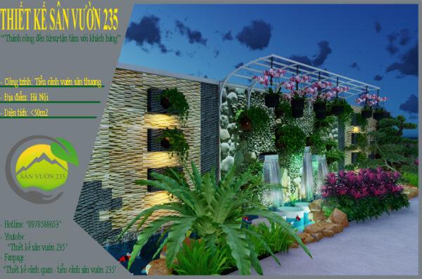 Mẫu thiết kế tiểu cảnh vườn sân thượng tại Hà Nội